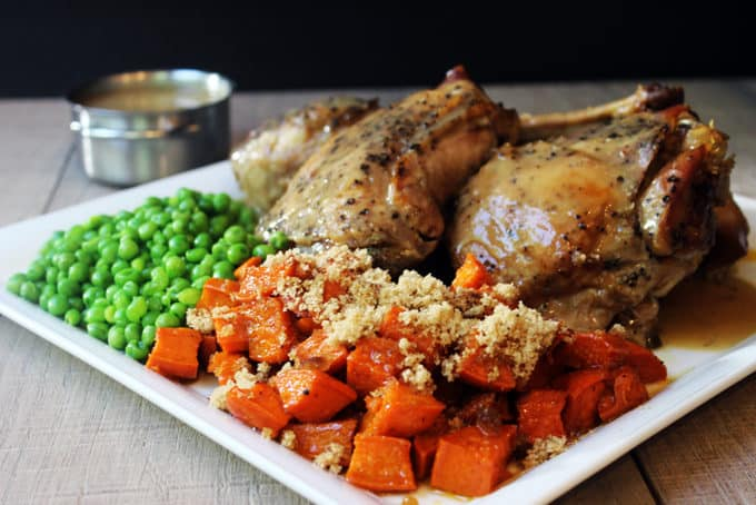 Thanksgiving in a flash with just 7 ingredients!! Slow cooked turkey that is browned, moist and tender, covered in a rich gravy with candied sweet potatoes and green peas with only a few ingredients (not including salt and pepper...but c'mon!)! In case you didn't see the news yesterday, the FREE E-Cookbook 5-10-30 5 Cuisines, 10 Full Meals, 30 Total Ingredients was released for subscribers!