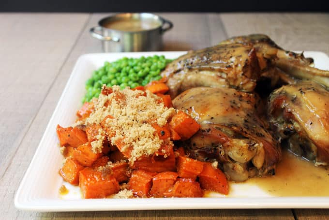 Thanksgiving in a flash! Slow cooked turkey that is browned, moist and tender, covered in a rich gravy with candied sweet potatoes and green peas in just 7 Ingredients (not including salt and pepper...but c'mon!)! In case you didn't see the news yesterday, the FREE E-Cookbook 5-10-30 5 Cuisines, 10 Full Meals, 30 Total Ingredients was released for subscribers!