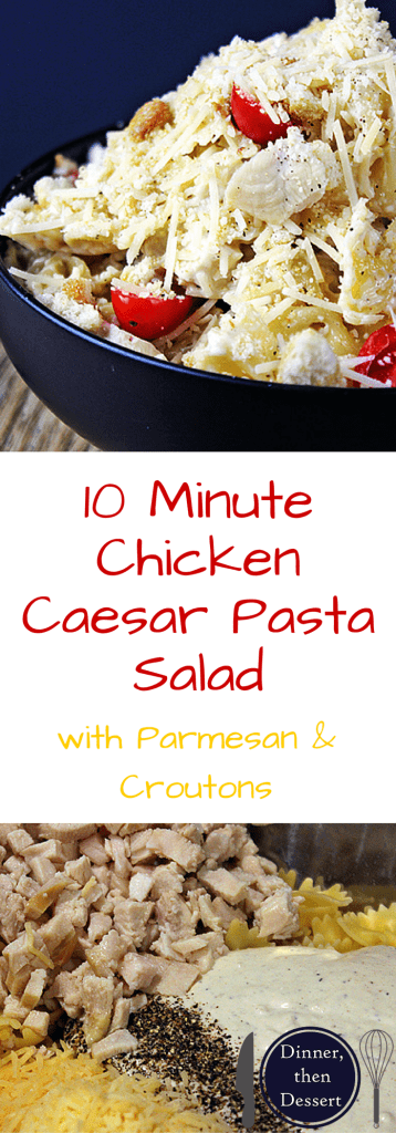 10 Minute Chicken Caesar Pasta Salad is so quick to make and so delicious you will put this in your regular rotation for lunches, parties, picnics and bbqs! It comes together in just minutes and is just 6 ingredients!