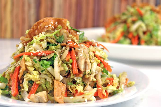 Chinese Chicken Salad heaped on plate