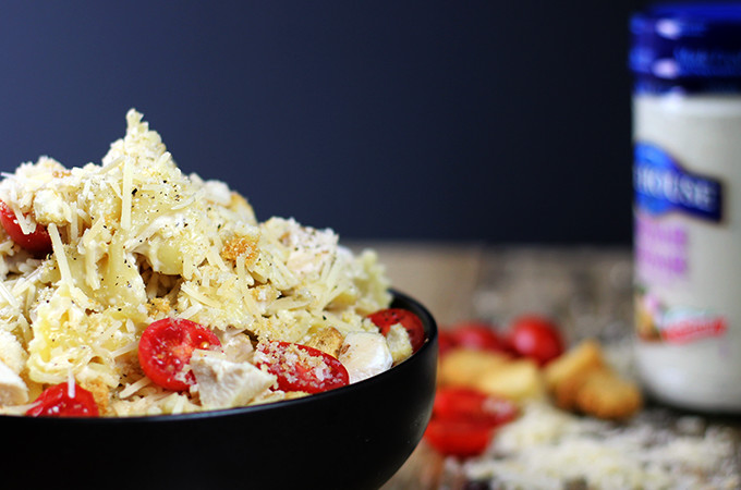10 Minute Chicken Caesar Pasta Salad