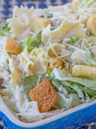 chicken caesar pasta salad is a cold salad everyone loves
