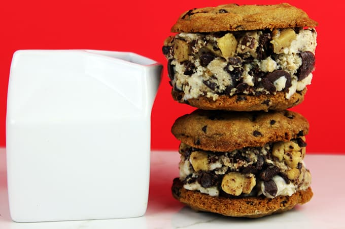The Ultimate Cookie Dough Ice Cream Sandwich! What makes it The Ultimate? We start with cookie dough flavored ice cream (yes the ice cream itself is made with melted eggless cookie dough, mixed with large chunks of semisweet chocolate and Eggless Chocolate Chip Cookie Dough. Then we sandwich that delicious ice cream with two of the most amazing Chocolate Chip Cookies you'll ever eat in your life.