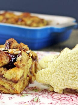 Peanut Butter and Jelly Uncrustables that you can make with your little ones using cookie cutters and instead of having leftover crusts that no one wants you bake it into a delicious Peanut Butter & Jelly French Toast Casserole! NO WASTE! It is a delicious brunch dish you can even serve company!