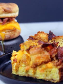 Bring your favorite fast food breakfast sandwich to your brunch table! This Egg & Bacon McMuffin bake has all the flavors of the original but without all the unwanted ingredients! Perfect for brunches or large family gatherings!