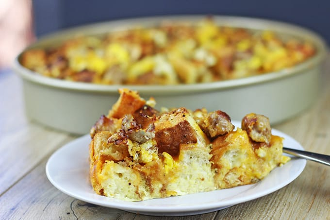 Your favorite fast food breakfast reimagined! Crispy, chewy English Muffins baked with eggs, breakfast sausage and cheddar cheese for a delicious egg bake that will be a hit with a crowd! Serve with maple syrup and a side of hash browns and skip the drive thru!