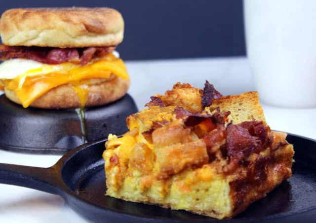 baked egg casserole next to a McMuffin