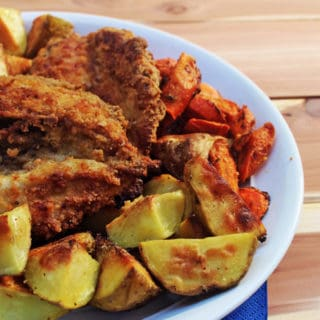"""Crunchy Buttermilk Oven Fried Chicken that is made with skinless chicken breast and coated in saltines makes for the most surprising, amazing """"fried"""" chicken you'll eat. The fact that it is both a """"light"""" recipe and cooked in butter makes it truly AMAZING."""