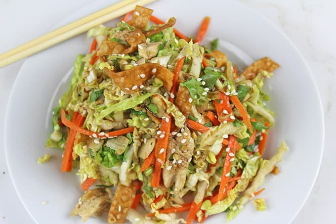 Chinese salad with chopsticks