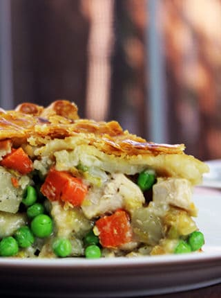chicken pot pie with flaky crust and homemade chicken pot pie cream sauce