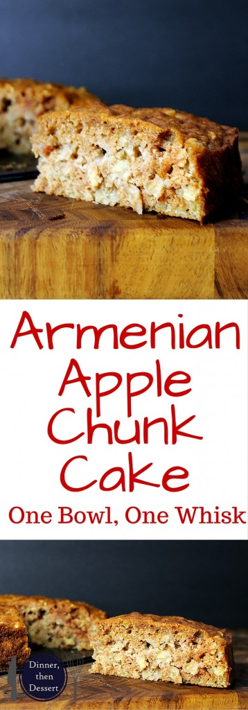 Full of diced apples and cinnamon, this Armenian Apple Chunk cake is so incredibly simple to make you'll find yourself making it ALL the time! One bowl, one whisk and no temperamental ingredients it will be on your table tempting you in less than an hour.