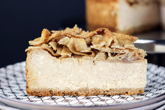 A tall, creamy, rich NY-Style Cinnamon Sopapilla Cheesecake topped with crispy, buttery, cinnamon sugar tortillas. This Cheesecake has it all, a rich taste with a hint of cinnamon spice topped with a crispy sweet crunch, it is a showstopper of a dessert!