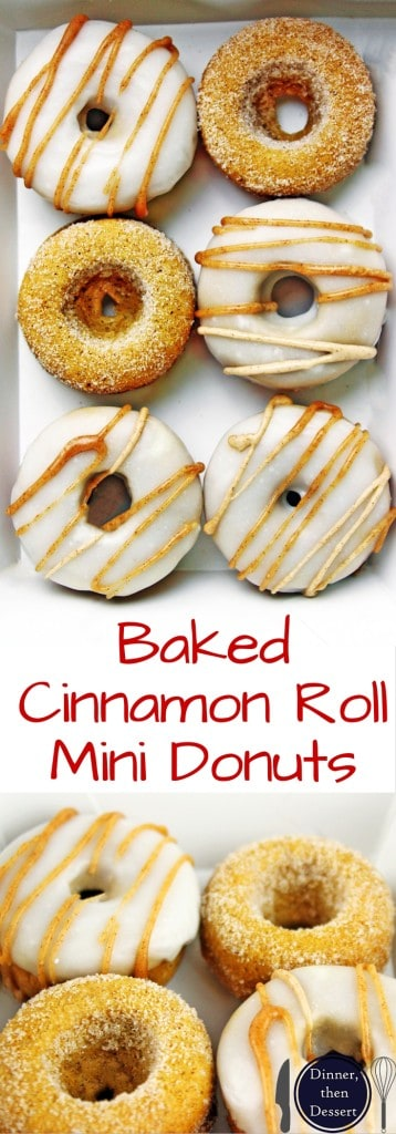 Delicious Cinnamon Roll Donuts that are baked and SO GOOD while staying healthy! Easy to make, adorable to serve and addicting to eat!