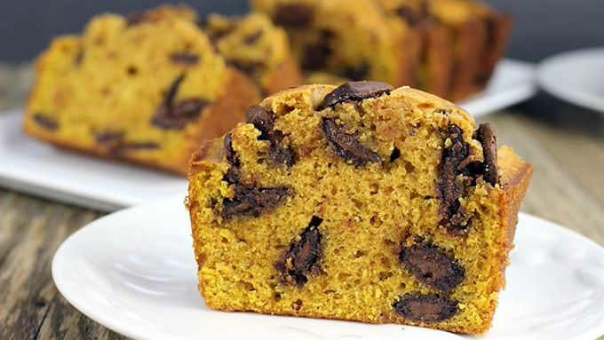 Chocolate Chip Pumpkin Bread slice standing up