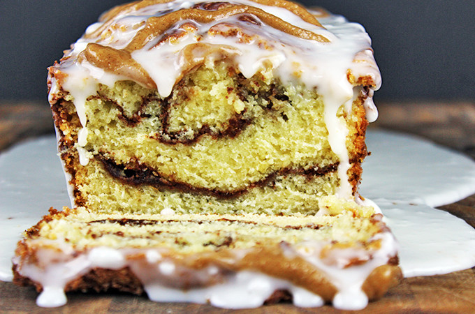 Ultimate Glazed Cinnamon Roll Pound Cake
