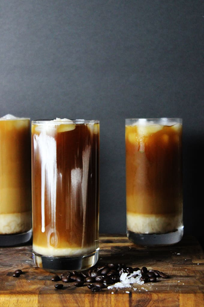 Iced sea salt coffee mixing