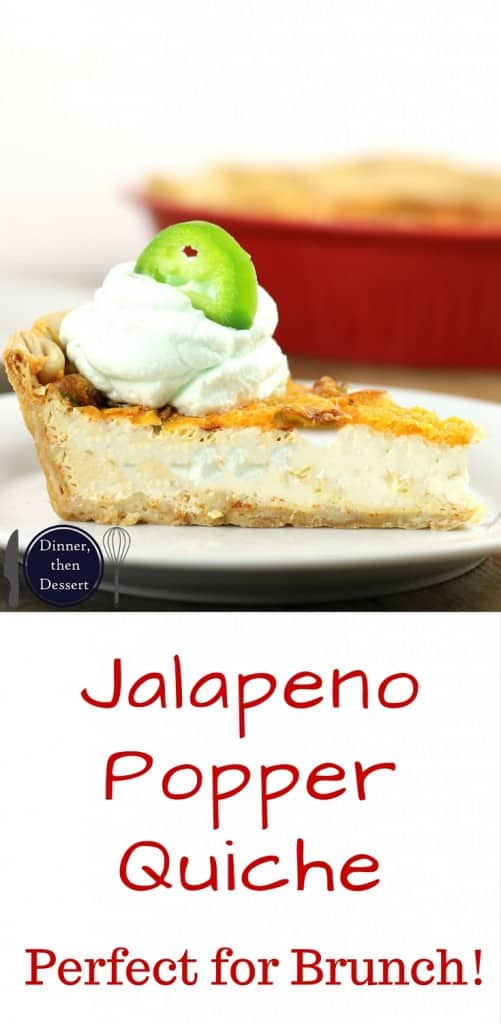 Jalapenos, Cheddar Cheese and Cream Cheese baked into a delicious pie crust. Your favorite Jalapeno Popper flavors in a quiche!