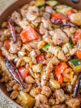 Panda Express Kung Pao Chicken is?Full of spicy chicken, zucchini, red bell peppers and crunchy peanuts in an easy ginger garlic sauce, this recipe is authentically Panda Express!