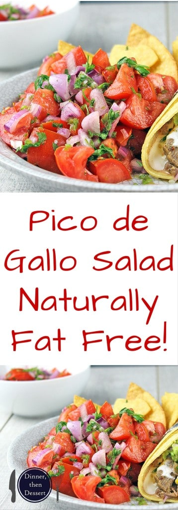 Pico de Gallo salad made with fresh tomatoes, red onions, jalapenos, cilantro and lime juice. You would expect it to be spicy, but the flavors work perfectly and this dish stands out as a delicious side to a great Mexican meal. Go ahead and add some cheese to your tacos because this salad has no fat!! You could eat the whole bowl completely guilt free!