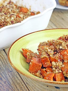 A twist on my favorite Old Fashioned Sweet Potatoes, these are topped with a crispy Pecan-Oat crust and are a perfect side dish to your dinner. Roasted in the oven and covered in spiced brown sugar and butter, they will make your whole house smell like the holidays are here already!
