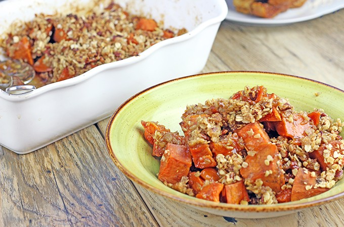 Candied Sweet Potatoes with Pecan Oat Crust