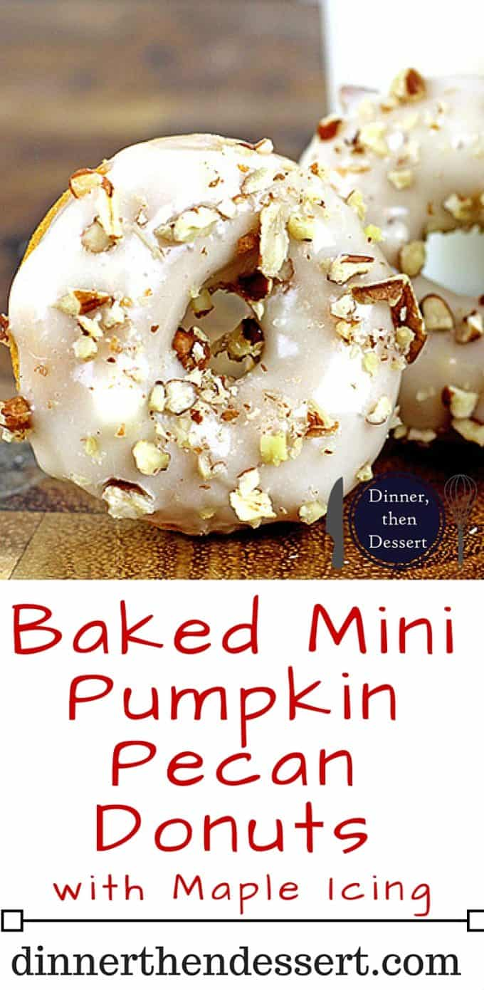 Baked Mini Pumpkin Donuts with Maple Icing. Tender Pumpkin baked donuts that are made in one bowl and bake in 8 minutes are covered in a quick two ingredient maple icing and finally are topped with crunchy pecans. It will look like you're a pro in the kitchen but these are a cinch to make!