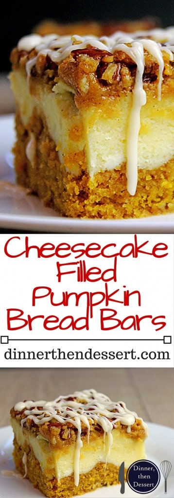 Cheesecake Filled Pumpkin Bars collage