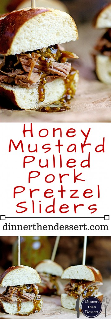 Tender Pulled Pork covered in a homemade raspberry honey mustard sauce with whole mustard seeds served in a toasted pretzel roll. Perfect for your tailgate or gameday party.
