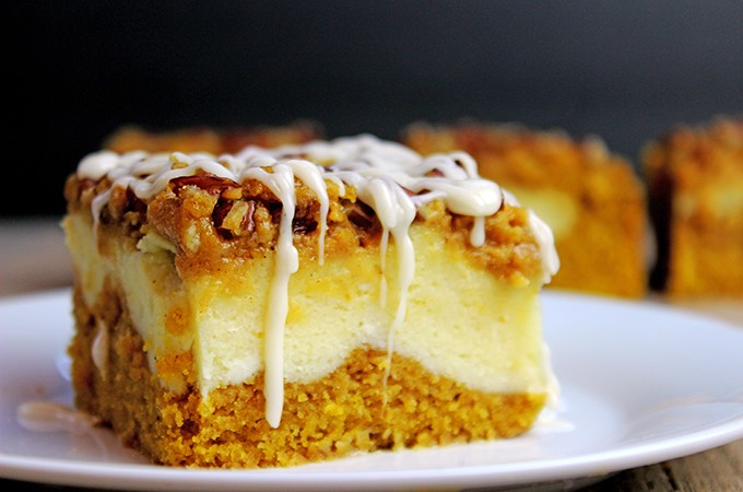 Cheesecake Filled Pumpkin Bread Bars
