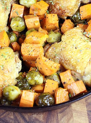 Made in one skillet, this One Pot Roasted Rosemary Chicken with Fall Vegetables is full of flavor even though it only has seven ingredients, TOTAL. Yes, seven ingredients for the whole meal, and only one pan to get dirty. This is the perfect meal to make on a school night when you?re looking for something healthy, hearty and well balanced.