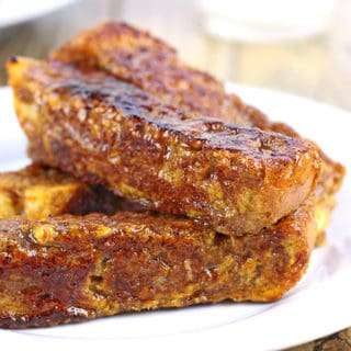 Br?l?ed Pumpkin French Toast Sticks. French bread soaked in a pumpkin egg custard flavored with cinnamon, nutmeg and vanilla is cooked on a griddle, then rolled in brown sugar and cooked a second time to caramelize the surface. Who needs syrup when you have crispy brown sugar on your French toast?