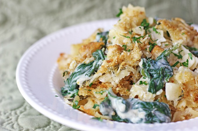 Spinach and Artichoke Dip Pasta Bake