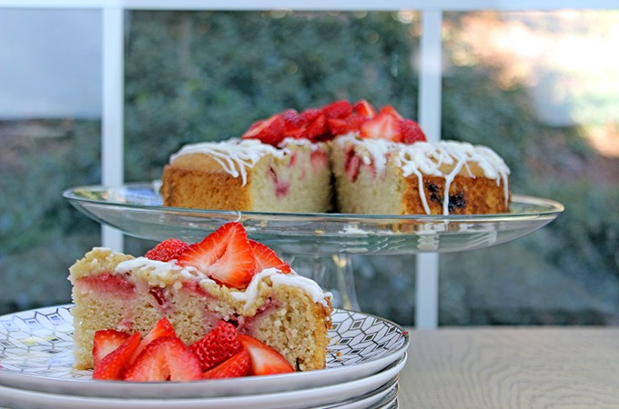 Iced Strawberry Almond Milk Cake