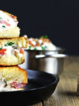 Creamy, tangy and full of bacon, this BLT Dip Grilled Cheese Sandwich will be your new favorite! An easy Round Two recipe for BLT Dip!