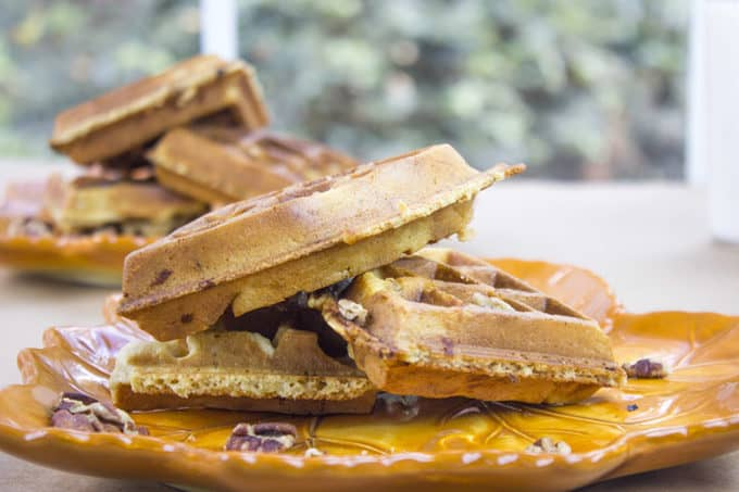 Brown Sugar Pecan Buttermilk Waffles are sweet from the brown sugar, tangy from the buttermilk, crunch from the minced pecans in the waffle and fluffy all at the same time. It also doesn't hurt that you can start the batter and be eating in less than 20 minutes!
