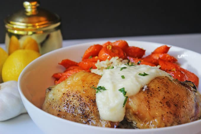 Zankou Chicken Copycat Bowl with their Chicken with Brown Rice Pilaf, Armenian Garlic Sauce & Lemon Scented Carrots. Serve with hot peppers and pickled turnips for a totally authentic experience.