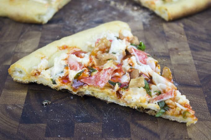 "This Crab Wonton Pizza with Sweet & Sour Drizzle is the answer to ""Pizza or Chinese?"" and in the best possible way because you can make it at home!"