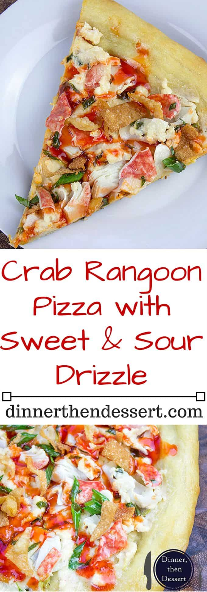 "This Crab Wonton Pizza with Sweet & Sour Drizzle is the answer to ""Pizza or Chinese?"" and in the best possible way because you can make it at home! Crunchy, creamy, sweet and sour you'll find yourselves fighting over the last slice!"