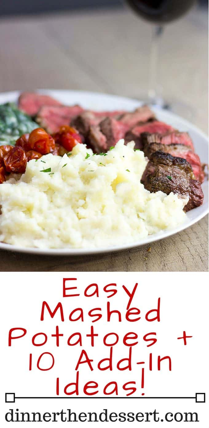 The perfect mashed potatoes to serve alongside your steak, ham or turkey in the holiday season and it makes enough for a crowd! Easily halved for smaller meals, this recipe is simple and open to your favorite add ins!
