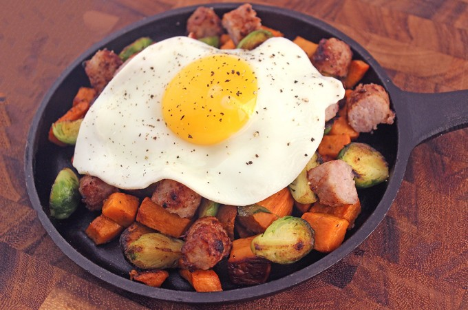 Sausage & Egg Skillet with Thanksgiving Leftovers