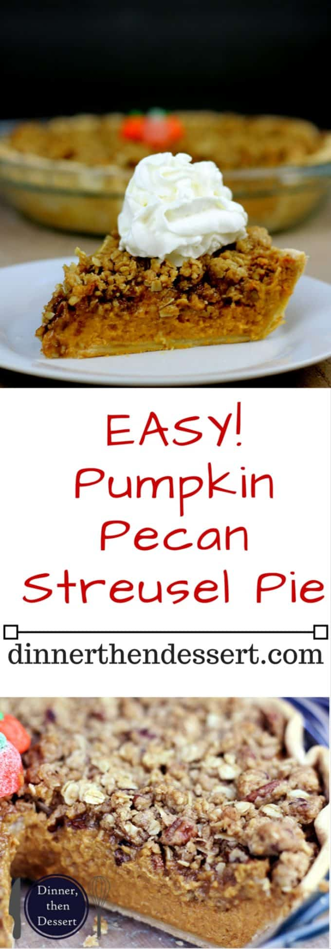 The only pie you'll need on your Thanksgiving dessert table, delicious Pumpkin pie with dark brown sugar topped with a Rich Pecan Streusel topping. Who says you need to choose pumpkin OR pecan pie?