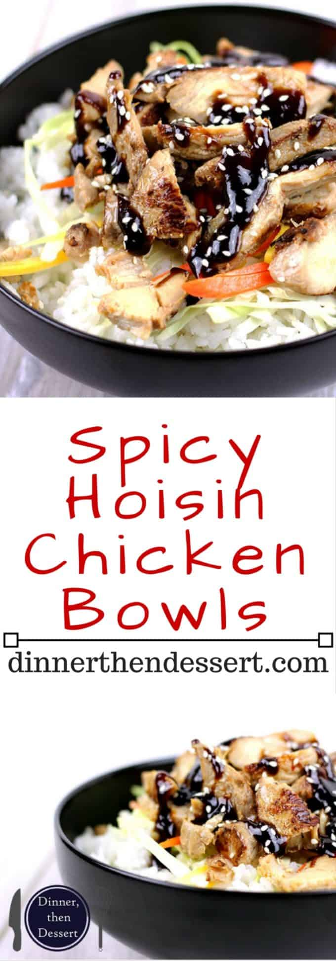 Spicy hoisin topped marinated Asian chicken is served over wilted cabbage, carrots and sticky rice in a quick weeknight meal that is sure to please your palate, your busy night and your need for a healthy meal!