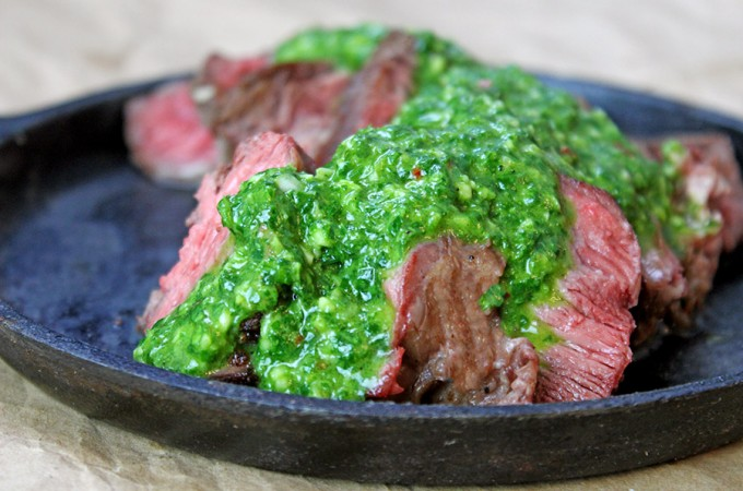 The Perfect Cast Iron Ribeye with Chimichurri Sauce