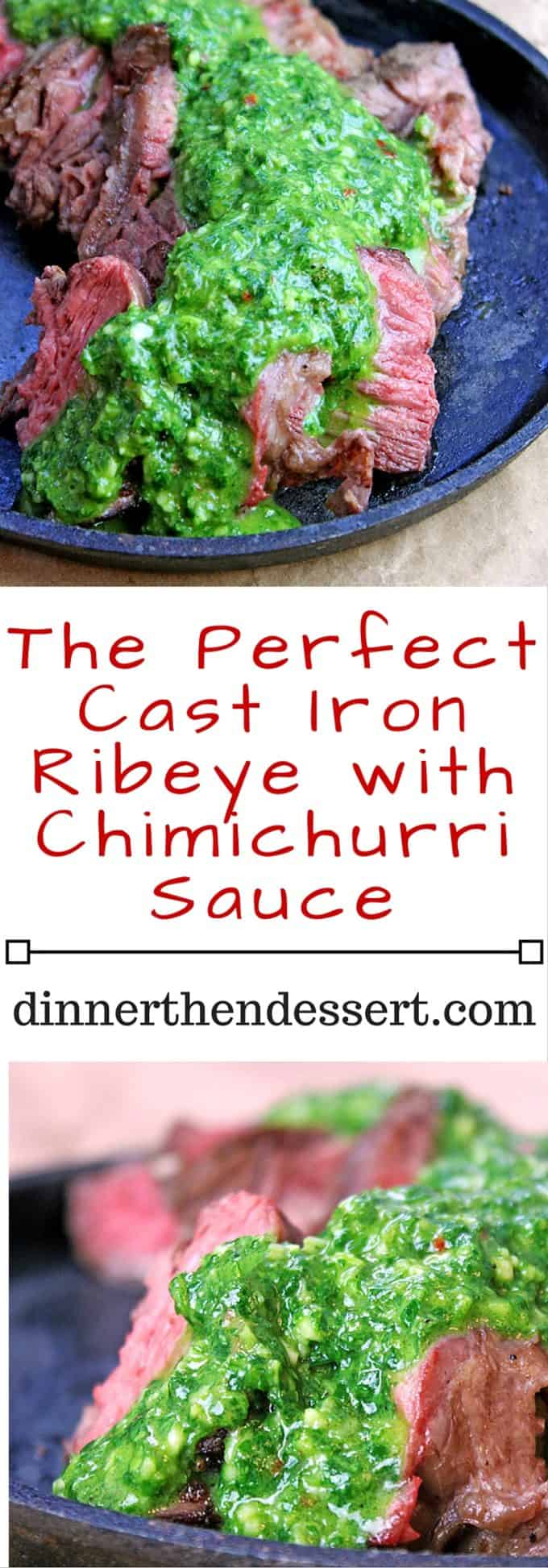 The Perfect Cast Iron Ribeye with Chimichurri Sauce L