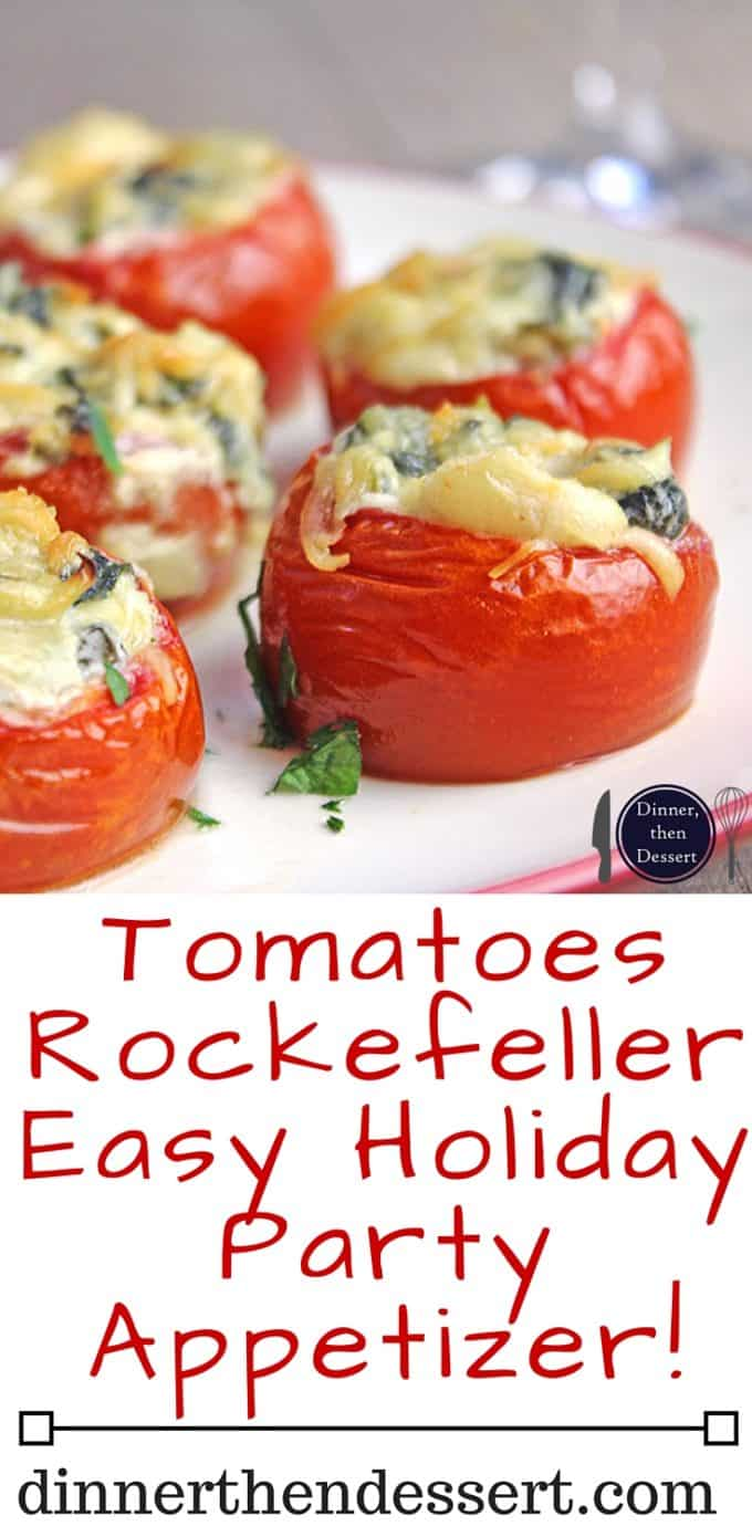 Forget the oysters, these Tomato Rockefeller bites will be the hit of your dinner party as part of a plated appetizer or even as a passed option at a cocktail party.