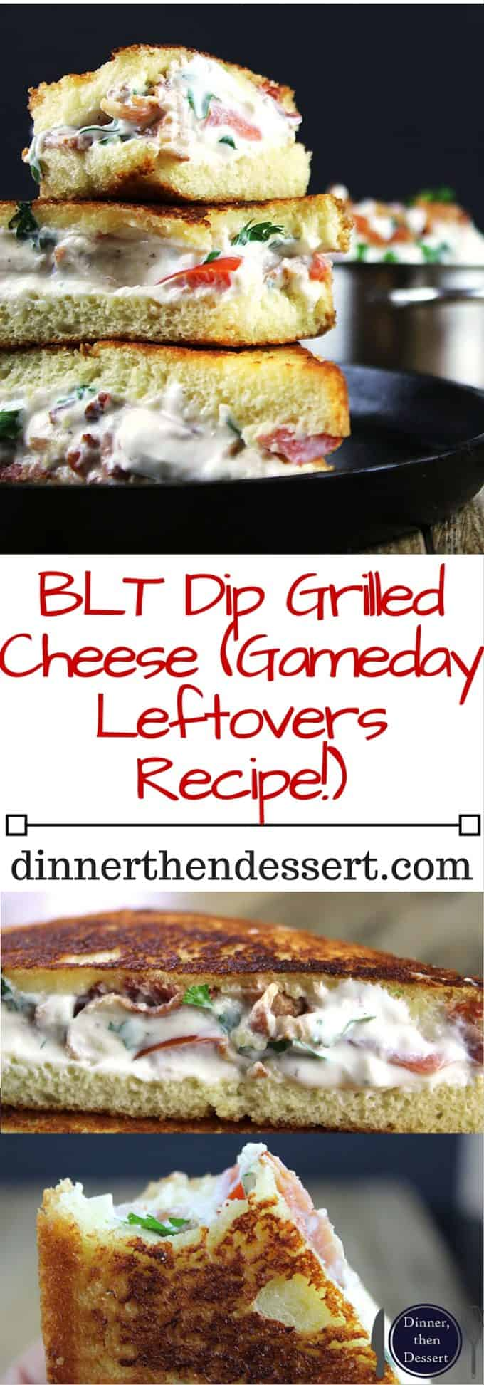 Creamy, tangy and full of bacon, this BLT Dip Grilled Cheese Sandwich will be your new favorite! Made with a crispy buttery buttermilk bread exterior and a melted bacon filling, this is an easy Round Two recipe for BLT Dip!