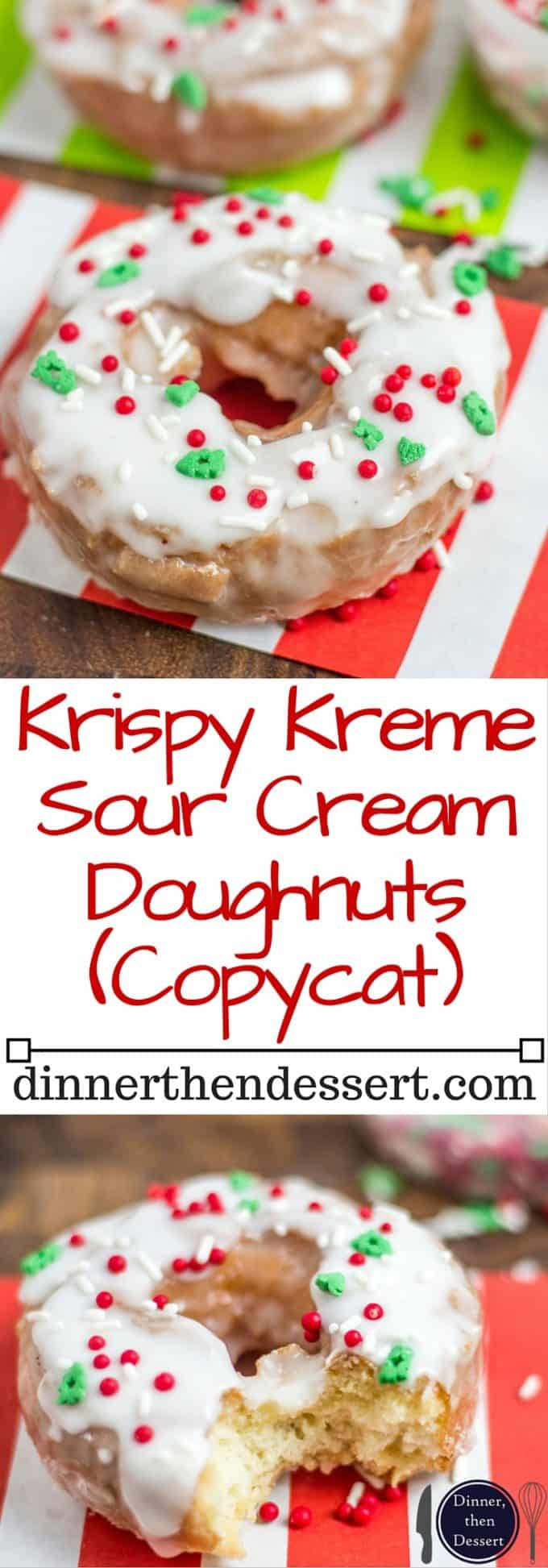 Classic Sour Cream Doughnuts fried to perfection with a classic powdered sugar glaze just like at Krispy Kreme! No yeast makes these doughnuts easy to make and with festive sprinkles a fantastic Holiday brunch/party treat!