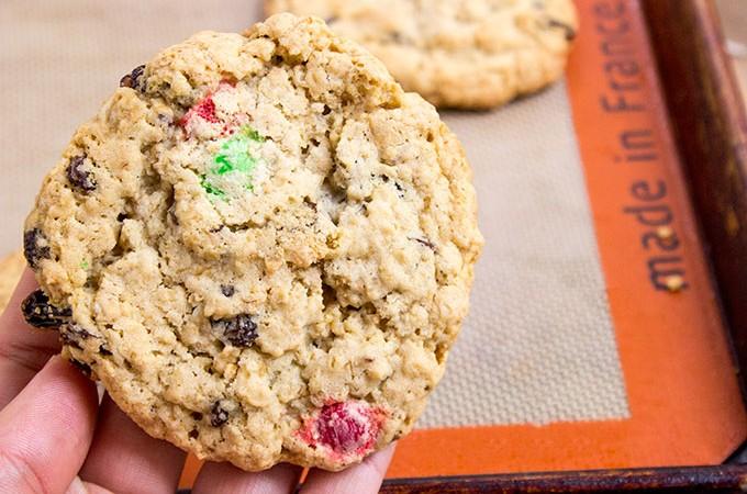 Super Chewy Oatmeal Raisin M&M Cookies