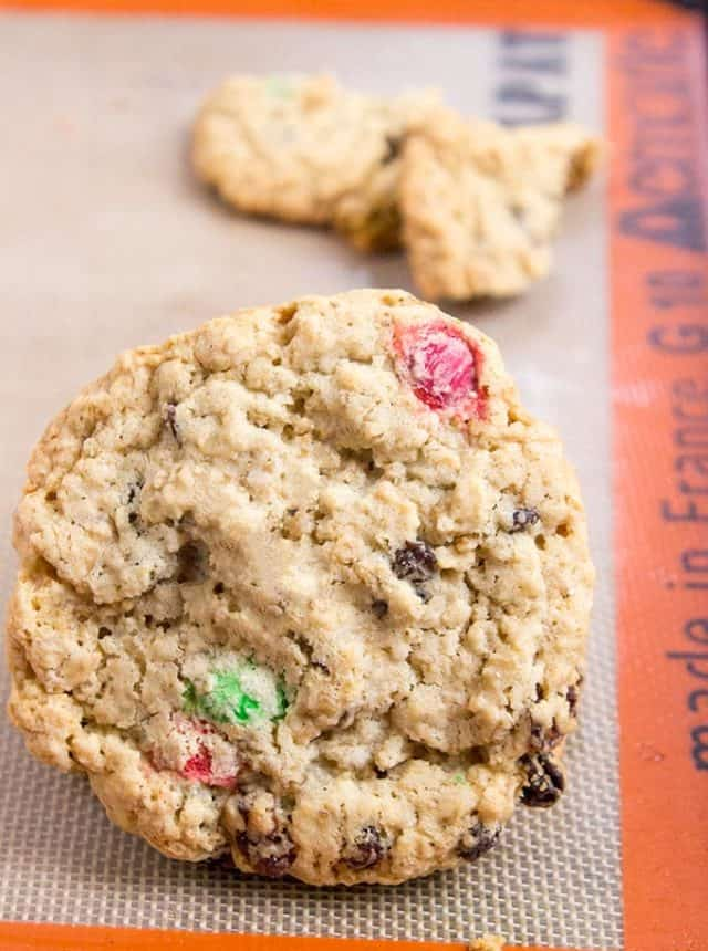 These Chewy Oatmeal Raisin M&M Cookies are full of oats, raisins, M&Ms, brown sugar (this makes them super moist and chewy) and they stay fresh covered for a week...if they last that long!