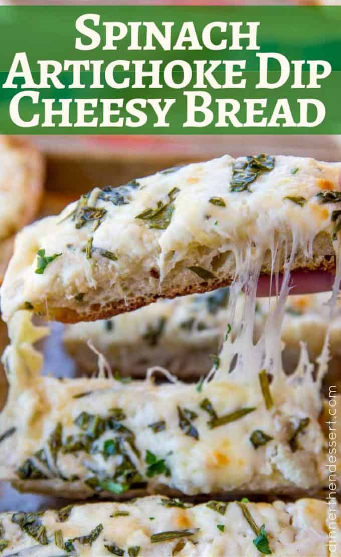 SO EASY! We loved this Spinach Artichoke Dip Cheesy Bread! Perfect appetizer!